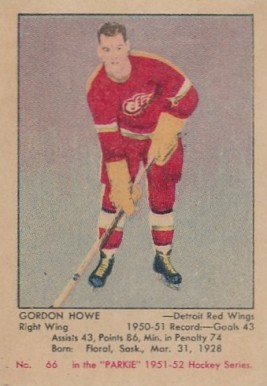1951 Parkhurst Gordie Howe #66 Hockey Card