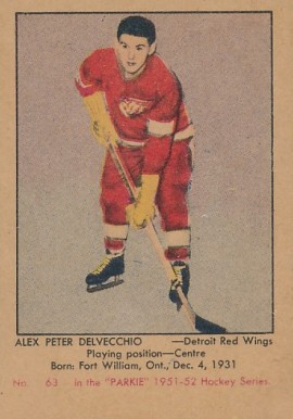1951 Parkhurst Alex Delvecchio #63 Hockey Card
