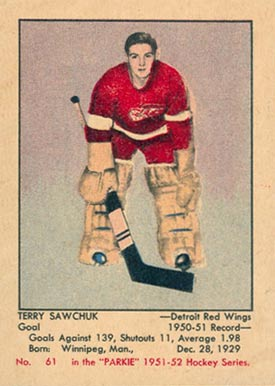 1951 Parkhurst Terry Sawchuk #61 Hockey Card