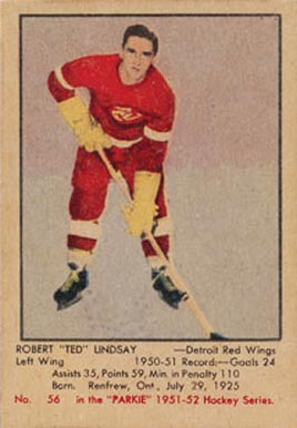1951 Parkhurst Ted Lindsay #56 Hockey Card