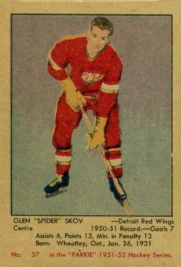 1951 Parkhurst Glen Skov #57 Hockey Card