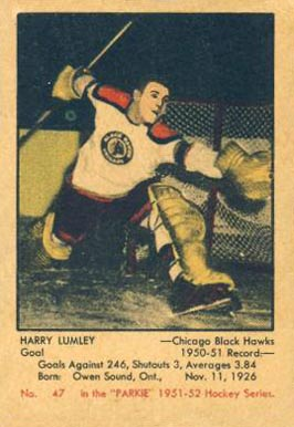 1951 Parkhurst Harry Lumley #47 Hockey Card