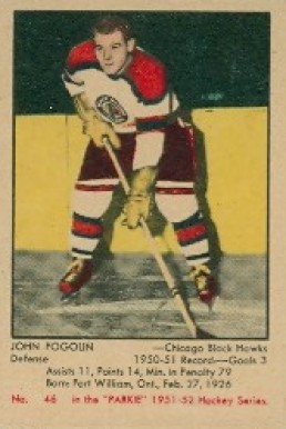 1951 Parkhurst John Fogolin #46 Hockey Card