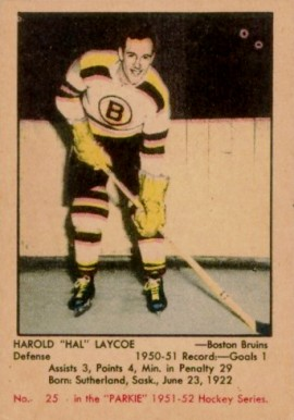 1951 Parkhurst Hal Laycoe #25 Hockey Card