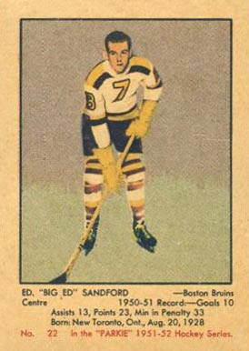 1951 Parkhurst Ed Sandford #22 Hockey Card