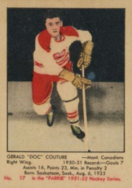 1951 Parkhurst Gerry Couture #17 Hockey Card