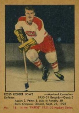 1951 Parkhurst Ross Lowe #18 Hockey Card