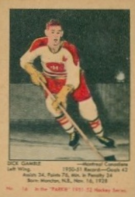 1951 Parkhurst Dick Gamble #16 Hockey Card