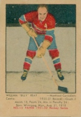 1951 Parkhurst Billy Reay #13 Hockey Card