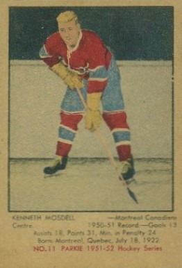 1951 Parkhurst Ken Mosdell #11 Hockey Card