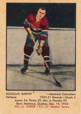 1951 Parkhurst Doug Harvey #10 Hockey Card