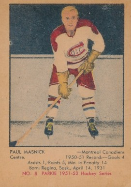 1951 Parkhurst Paul Masnick #8 Hockey Card