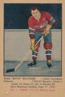 1951 Parkhurst Butch Bouchard #3 Hockey Card