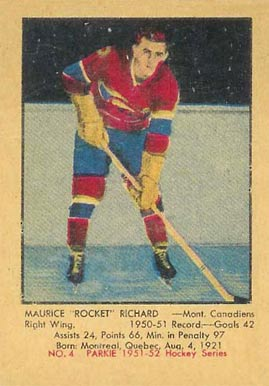 1951 Parkhurst Maurice Richard #4 Hockey Card