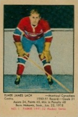 1951 Parkhurst Elmer Lach #1 Hockey Card