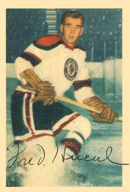1953 Parkhurst Fred Hucul #71 Hockey Card