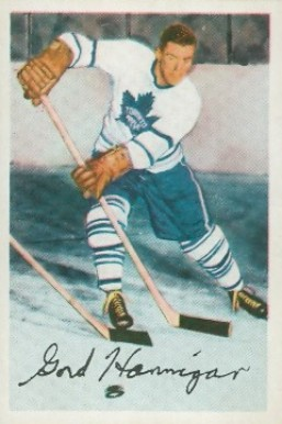 1953 Parkhurst Gord Hannigan #3 Hockey Card