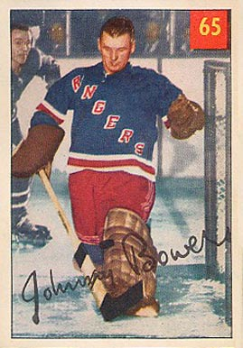 1954 Parkhurst Johnny Bower #65 Hockey Card