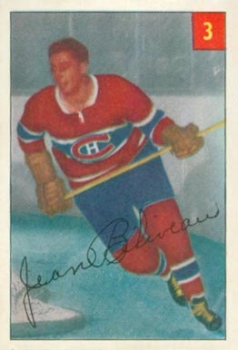 1954 Parkhurst Jean Beliveau #3 Hockey Card