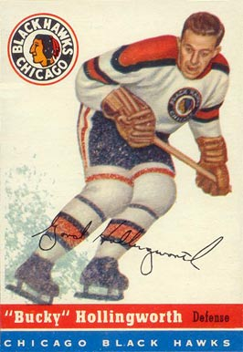 1954 Topps Bucky Hollingworth #12 Hockey Card