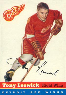 1954 Topps Tony Leswick #45 Hockey Card