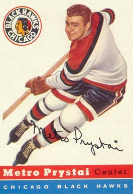 1954 Topps Metro Prystai #24 Hockey Card