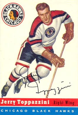 1954 Topps Jerry Toppazzini #21 Hockey Card