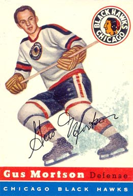 1954 Topps Gus Mortson #17 Hockey Card