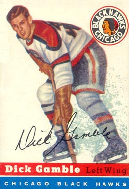 1954 Topps Dick Gamble #1 Hockey Card