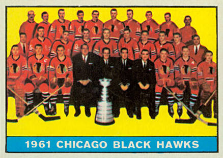 1961 Topps Chicago Blackhawks Team #42 Hockey Card