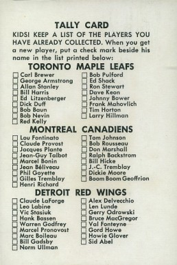 1962 Parkhurst   #Tally  Hockey Card