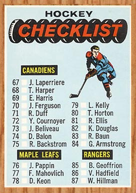 1966 Topps   #120 Hockey Card