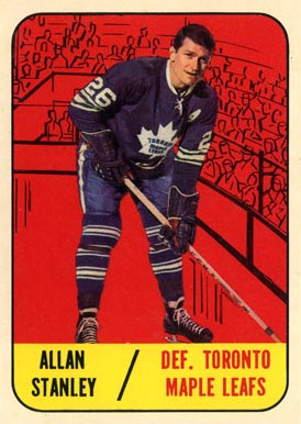 1967 Topps Allan Stanley #13 Hockey Card