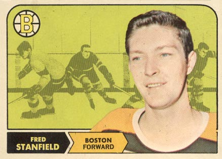 1968 Topps Fred Stanfield #10 Hockey Card