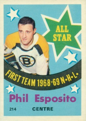 1969 O-Pee-Chee Phil Esposito All-Star #214 Hockey Card