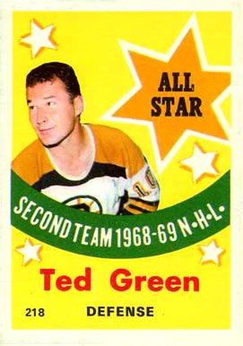 1969 O-Pee-Chee Ted Green #218 Hockey Card