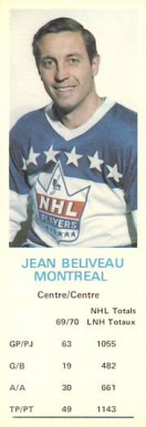 1970 Dad's Cookies Jean Beliveau #4 Hockey Card