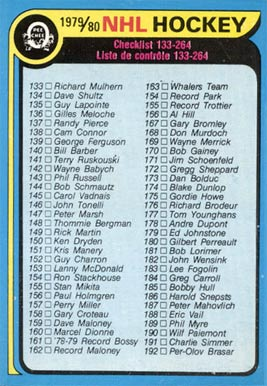 1979 Topps Checklist 133-264 #237 Hockey Card