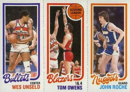1980 Topps Unseld/Owens/Roche #160 Basketball Card