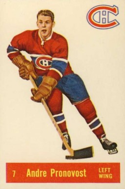 1957 Parkhurst Andre Pronovost #7-Pron Hockey Card