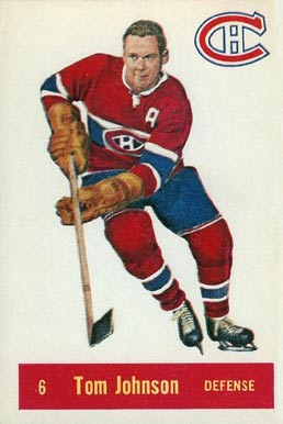 1957 Parkhurst Tom Johnson #6-John Hockey Card