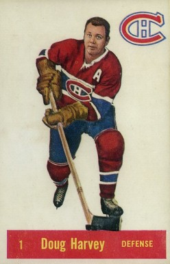 1957 Parkhurst Doug Harvey #1-Harv Hockey Card