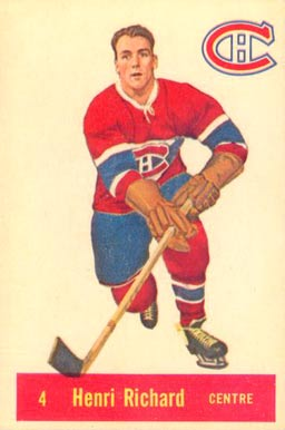 1957 Parkhurst Henri Richard #4-Rich Hockey Card