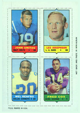 1969 Topps Four in One Johnny Unitas #60 Football Card