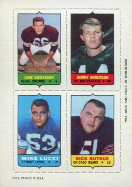 1969 Topps Four in One Hickerson/Anderson/Butkus/Lucci #21 Football Card