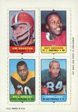 1969 Topps Four in One Jim Houston #24 Football Card
