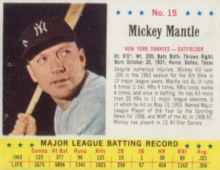 1963 Jell O Mickey Mantle 15 Baseball Vcp Price Guide