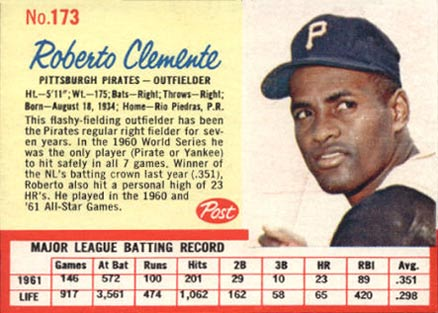 1962 Post Cereal Baseball Card Set Vcp Price Guide