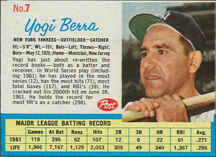 1962 Post Cereal Yogi Berra #7 Baseball Card