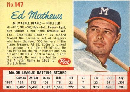 Eddie Mathews Hall Of Fame Baseball Cards